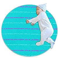 洗濯機で洗えるラウンドエリアラグ屋内ウルトラソフトベッドルームフロアソファリビングルーム寮小さな円形カーペット2.6フィート、サマーストライプブルーピンク