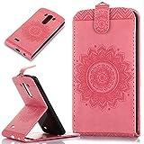LG G3caso, LG G3Funda, ikasus, diseño de encaje floral mandala flor patrón piel sintética plegable tipo cartera, funda de piel tipo cartera con función atril para tarjetas de crédito ID soportes car