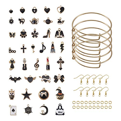 PandaHall 1 Set Bracelet Making Kit with 5pcs Adujstable Blank Bangle & 76pcs Metal Enamel Charm & 80pcs Jump Ring & 20pcs Earring Hook for Jewelry Craft Art Making