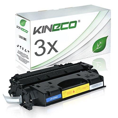 Kineco 3 Toner kompatibel zu HP CE505A 05A Laserjet P2035, Laserjet P2055D, Laserjet P2030 Series, Laserjet P2050 Series, Laserjet P2055DTN, Laserjet P 2057DM - Schwarz je 2.300 Seiten