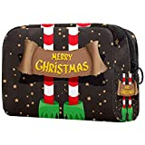 Bolsa cosmética compacta Bolsa de Maquillaje Monedero, Patrón de Navidad Pies de Duende Estrella Dorada