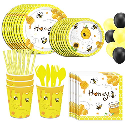 NAL 113Pcs Bee Theme Party Supplies Bee Birthday Tableware Set with Paper Plates Bee Cups Napkins Forks Balloons Banner for Kids Birthday Baby Shower Party Decorations Serves 8