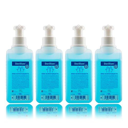 Sterillium 500ml Hände Desinfektionsmittel inkl. Vitamed Dosierpumpe, für sicheren effizienten hautverträglichen Infektionsschutz (4x 500ml)