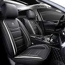 WYFZD Luxury Leather Auto Car Seat Covers 5 Seats Full Set Universal Fit Toyota Camry Altise Corolla RAV4 Hilux Prius Mazda 2 Mazda 3 Mazda CX5 Mazda CX3 (Black-White)