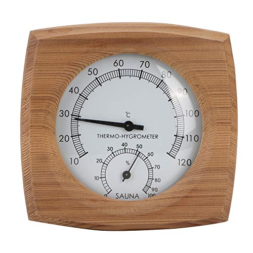 Cikonielf Innen-Holz-Thermo-Hygrometer-Thermometer 2-in-1-Saunathermometer und Hygrometer-Dampfbad Saunaraumzubehör