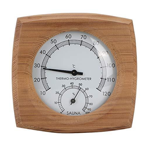 Cikonielf Innen-Holz-Thermo-Hygrometer-Thermometer 2-in-1-Saunathermometer und Hygrometer-Dampfbad Saunaraumzubehör