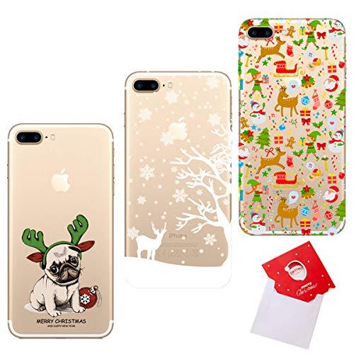 HopMore 3 Cover per iPhone 7 Plus/iPhone 8 Plus Silicone Morbide Trasparente Disegni Natale Belle Custodie Morbido Trasparenti Antiurto Gomma con la Cartolina di Natale - Cane Alce Babbo Natale