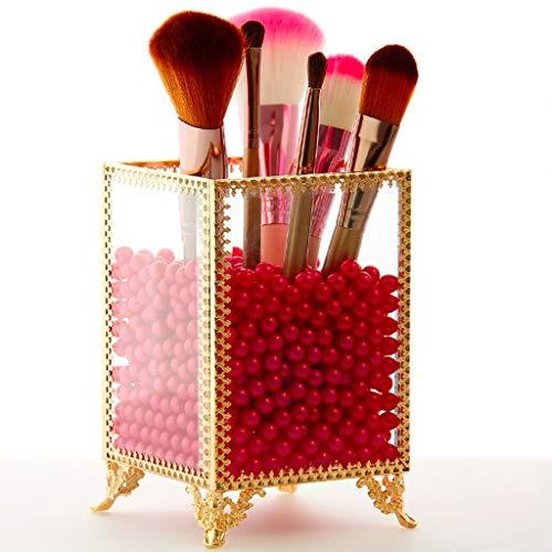 Stockage cosmétique Maquillage Verre Organisateur cosmétique Maquillage Pinceau Crayon À Sourcils Eyeliner Perle Boîte De Rangement (Couleur : Rouge)