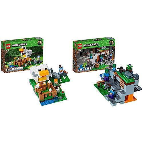 Lego Minecraft Il Pollaio, 21140 & Minecraft la Caverna dello Zombie, 21141