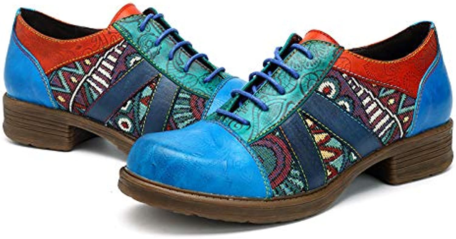 CrazycatZ Womens Vintage Bohemian Ankle Oxford shoes Flat Genuine Leather Patchwork Patchwork shoes