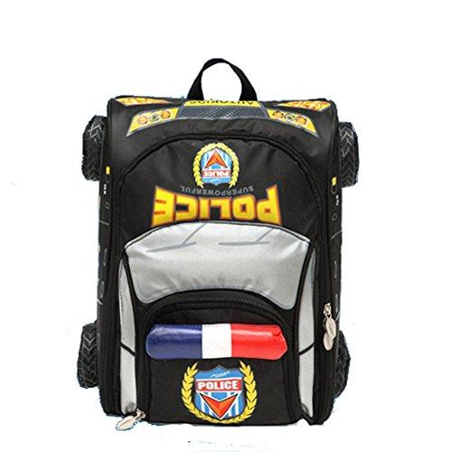 CLOHO 3D Police Car Style Baby Boys Schoolbag Backpack for Kids (Black)