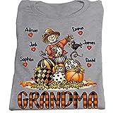 Grandma Fall Personalized T-Shirt, Custom...