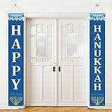 Boao Bannière de Hanukkah Signe de Porche Happy Hanukkah Décorations de Hanukkah pour Maison Porte Fête d'anniversaire Cour en Plein Air