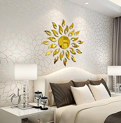 Bikri Kendra - Sun Golden - 3D Acrylic Decorative Mirror Wall Stickers