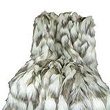 Thomas Collection Ivory Faux Fur Throw Blanket & Bedspread - Tibet Fox Fur - Ivory Beige Luxury Faux Fur - Throw Blanket - Luxury Soft Faux Fur, Made in USA, 16445