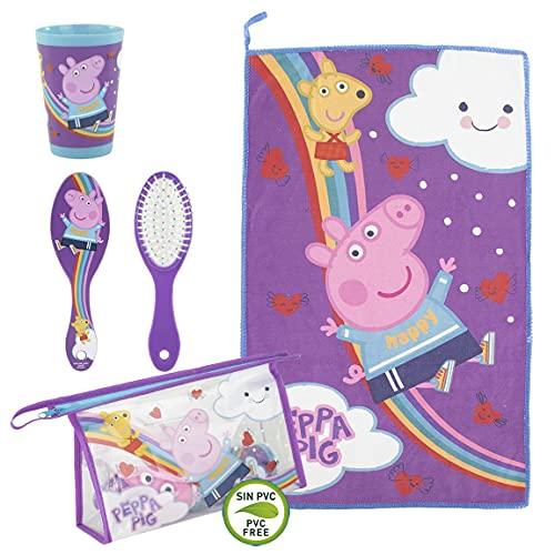 CERDÁ LIFE'S LITTLE MOMENTS, Neceser Infantil Completo de Peppa Pig-Licencia Oficial Nickelodeon para Niñas, Morado, Especialmente recomendado 2 a 8 años