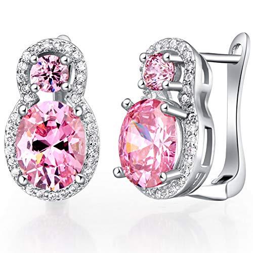FGFDHJ Pendientes de botón de plata 925 con aretes de piedras preciosas de circonita amatista de zafiro rubí para mujer Joyería de boda