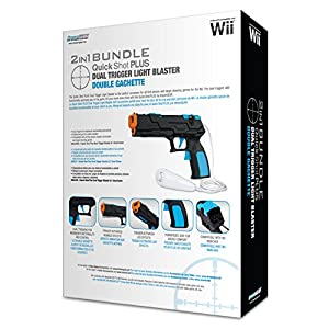 dreamGEAR 2 in 1 Bundle Quick Shot PLUS Dual Trigger Light Blaster with Empty Game Slot - Nintendo Wii