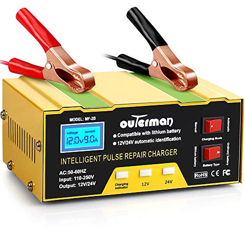 Outerman Car Battery Charger 12V, 24V Lithium Motorcycle Battery Charger, Automatic Smart Battery Maintainer for Car Boat Motorcycle Lawn Mower Lead Acid Battery or Lithium Battery Capacity: 6AH~105AH