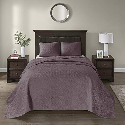 Madison Park Quebec Reversible Damask Design, Double Sided Quilting All Season, Lightweight Coverlet Bedspread Bedding Set, Matching Shams, Twin(81u0022x110u0022), Purple