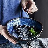 Vibrantes □ Colores Azul Europea en Forma de Ensalada Sopa Creativa Cuenco Cuenco Cuenco de Fideos Irregular del Cuenco de Fruta de Cerámica Plato de Arroz Inicio de 8 Pulgadas Tazón de Cerámica Porce