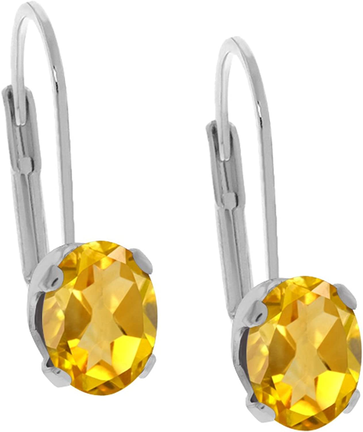 0.80 Ct Oval Yellow Citrine 14K White gold Earrings
