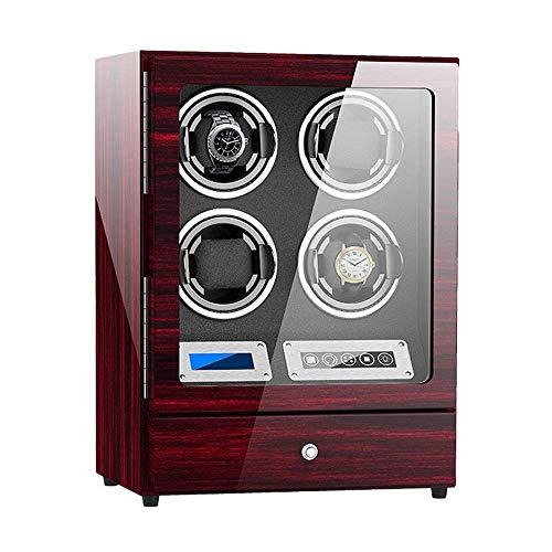 YXFYXF Reloj automático Bander Winder 4 con cajón de Almacenamiento con Pantalla de visualización táctil Reloj Ajustable Almohadas Dual Power Super (Color : Red)