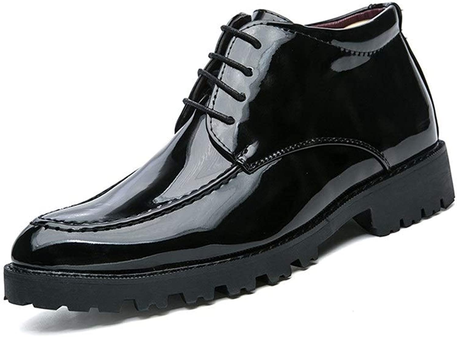 Z.L.F shoes Men's Business Oxford British Patent Leather Winter Boots with Plush Warm High Help Formal shoes Leather shoes