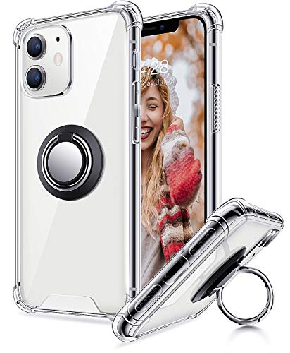 Ansiwee for iPhone 11 Case with Phone Ring Holder, Colorful and Clear Hard Back Shock Drop Proof Impact Resist Extreme Durable Protective Cover Cases for Apple iPhone 11 (Crystal Clear)