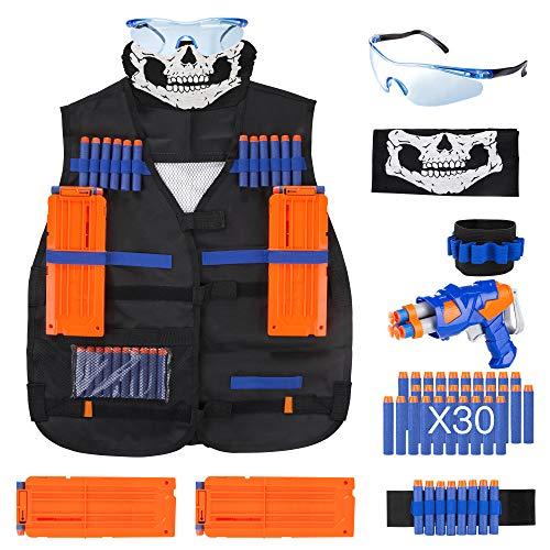 VOROSY Elite Tactical Vest Kit for Nerf N-Strike Elite Series,40-Dart Refill Pack,Seamless Skull face mask (Tactical Vest Kit)