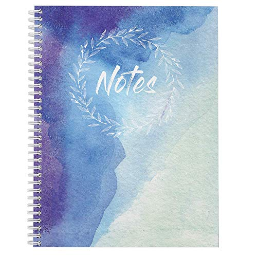 Softcover Watercolor Notes 8.5' x 11' Spiral Notebook/Journal, 120 College Ruled Pages, Durable Gloss Laminated Cover, White Wire-o Spiral. Made in the USA