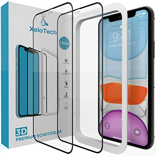 XeloTech 2X 3D Full Screen Schutzglas für iPhone 11 & iPhone Xr (6.1 Zoll) - Ultra genaue Installation mit Rahmen - Kompatibel mit Hülle & Case - Panzerglasfolie Mit Randschutz