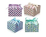 Large Gift Treat Boxes with Ribbons (20 Pack) Thick 400gsm Card Decorative Gift Boxes with lids for Cookies, Graduations, Bridesmaids, Weddings, Birthdays, Showers 7.3 x 7.3 x 4.6 IN