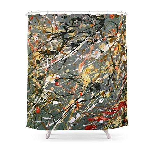QianruB-No. 1 Jackson Pollock Interpretation Acryl auf Leinwand Splash Drip Action Gemälde Duschvorhang 183 x 183 cm