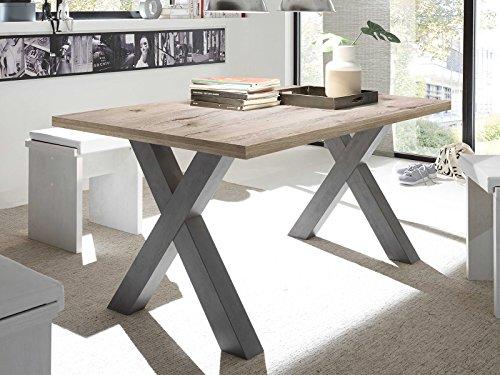 möbelando Esszimmertisch Esstisch Tisch Speisentisch Küchentisch Holztisch Trey IX Graphit/Sandeiche