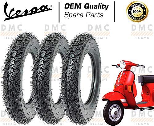 Kit de 3 neumáticos para neumáticos de 3,00 – 10 Vespa PK 50 – PK 50 XL – PK 125 – PK 125 XL – PK 125 XL diseño Michelin brillante.