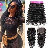 EMOL Hair 9A Brasilianisches Menschliches Haar Virgin Human Hair Curly Weave Brazilian Deep Wave Bundles with Closure Curly Brazilian Hair 3 Bundles with Closure 16 18 20+14 Zoll