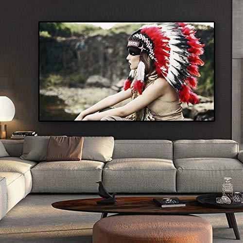 N / A Retrato de Tocado Indio aborigen Retrato y Arte de Grabado Sala de Estar Cuadro sin Marco Pintura 40cmX60cm
