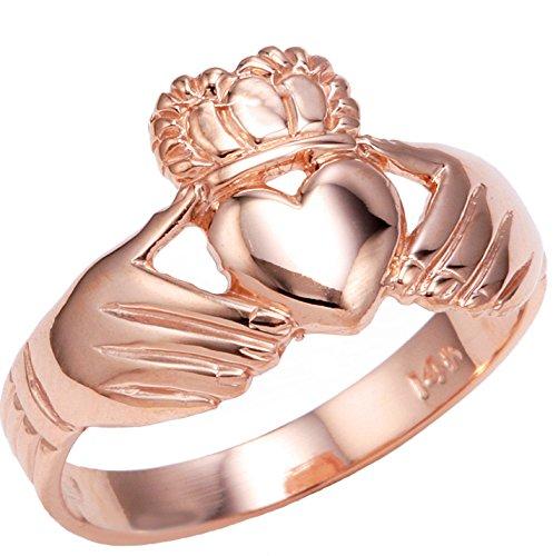 Claddagh Rings High Polish 10k Rose Gold (Size 7)