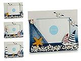 takestop Cornice sassolini Porta Foto 10x15cm Marino PORTAFOTO Orizzontale TIMONE Pesci Barchetta Art_27861 Stile Marino Mare Blu Bianco FOTOGRAFIE Decorazione Design CASA Ufficio SCRIVANIA