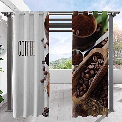 Home Curtains Bean and Ground Plants Filter Coffee Equipment Caffeine Addiction and Tropic Taste Indoor/Outdoor Cabana Curtain for Back Deck to Provide Additional Privacy Brown Green W108 x L96 Inch