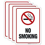 No Smoking Sign - (4 Pack) | 10x7 Inches,Rust Free 0.40 Aluminum, Fade Resistant, Indoor/Outdoor Use, Made in USA by Sigo Signs