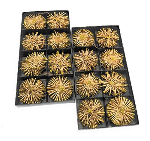 MC Trend 80er Set Strohsterne Anhänger Weihnachten Baumschmuck Fenster-Deko Geschenk-Accessoire (80er Set Stroh Sterne)