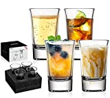 JBHO Heavy Base Shot Glass Set,1.5 Ounce,Set of 4,Giftable Packing for Whiskey, Tequila, Vodka and DIY