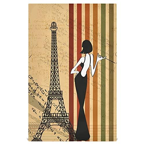 Naanle Toallitas de cocina para mujer, de la Torre Eiffel, 4 unidades, reutilizables, absorbentes, de secado rápido, toallas de mano, toallas de té, toallas de bar, para el hogar, cocina, 71 x 45 cm