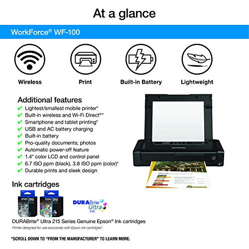 Epson Workforce WF-100 Wireless Color Mobile Printer, Compatible with Alexa (Renewed) Photo #5