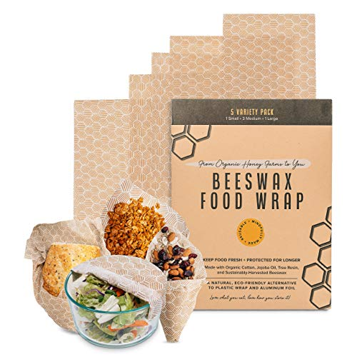 Beeswax Food Wrap Set of 5 - Reusable Wax Food Wrap - Natural Beewax Wrapping - Safe For Your Food, Odorless bee wax wraps - Zero Waste, Bee Wrap Plastic Free, Eco-Friendly Reusable Food Storage