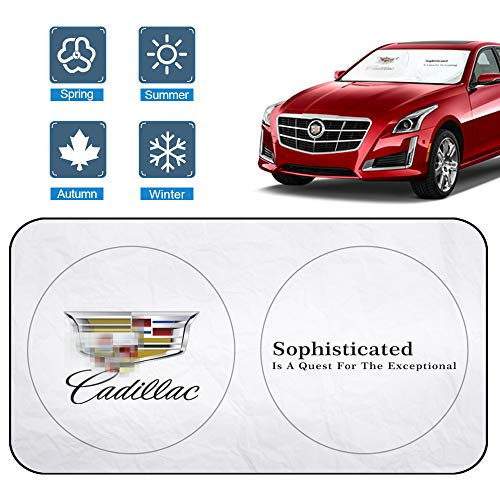For CADILLAC Accessories Windshield Sunshade, 210T Car Sun Shade Fabric Block the Strong Sunlight and Ultraviolet Rays, Keep the Car Cool and Sun Visor Protection Cadillac 1994-2024 SUV(62.9 X 33.4'')