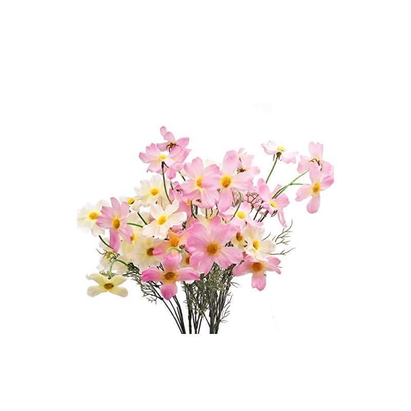 silk flower arrangements cn-knight artificial flower 6pcs 27'' long stem silk coreopsis calliopsis galsang fake daisy chrysanthemum for wedding bridal bouquet bridesmaid groomsman home décor office centerpieces(color mix-1)