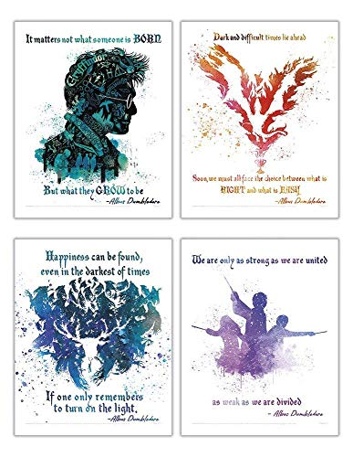TRENDYPRINT Harry Potter – Dumbledore Quotes - Set of Four 8' x 10' Wall Art – Great for Gifting or Collecting
